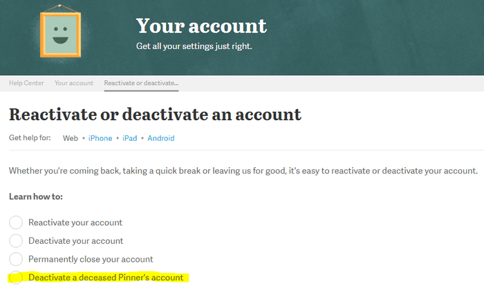 Reactivate or deactivate an account
