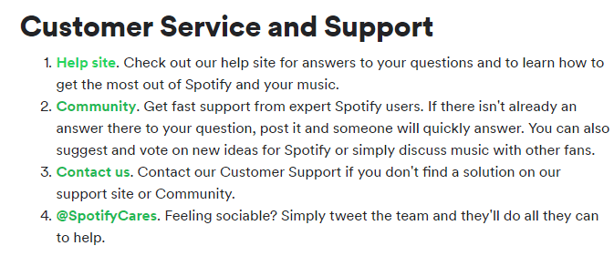 Spotify Customer Service