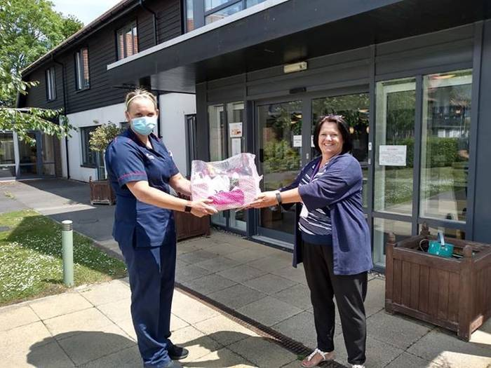 Paula delivering Hamper to care home